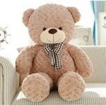 ตุ๊กตาหมีอ้วนขนกุหลาบสีน้ำตาลอ่อน