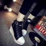 รองเท้าผ้าใบ เสริมส้น style ASH งานสวย ไม่ตกเทรน ฮิตไม่เลิก ทรงเป๊ะ พื้นยางอย่างดี น้ำหนักเบา เดินสบาย ถอดใส่ง่ายมีซิปด้านข้าง ส้นสูง 8 cm ใส่สูงเพรียว เท่ห์ได้ทุกชุด