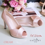 รองเท้าคัชชู ส้นสูงเปิดนิ้ว สวยเรียบหรูด้วยหนังบุผ้าซาติน Classic ดีไซน์ไขว้หน้า ความสูง 4 นิ้ว แมทง่ายกับทุกชุดใส่ออกงานสวยหรูดูดี