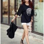 [พร้อมส่ง] เสื้้อแฟชั่นเกาหลีใหม่ แขนสั้นลูกไม้ สำหรับผู้หญิงไซส์ใหญ่ ไซส์ L - [In Stock] New Korean Fashion Shirt Short-Sleeved for Large Size Woman