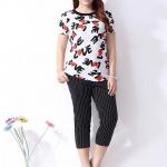 [พรีออเดอร์] กางเกงแฟชั่นเกาหลีไซส์ใหญ่ ขา 3 ส่วน ลายทางตรงสีขาว - [Preorder] Plus size Women ฺKorean Hitz White Strip Casual Pants