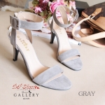 รองเท้าส้นสูง สไตล์ ZARA สวยปราดเปรียว วัสดุทำจากผ้าสักหลาด ทรงสวมเปิดหน้า รัดข้อ แมชกับชุดไหนก็สวยดูดี ความสูง : 3.5 นิ้ว