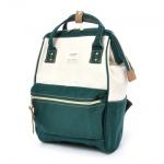 กระเป๋าเป้ Anello Cotton Green (Standard) ผ้าคอตตอน สีทูโทน ขาวเขียว