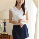 **พรีออเดอร์** เสื้อเชิ้ตทำงานแฟชั่นเกาหลี สีขาว แขนสั้น / **Preorder** Women Korean Hitz Slim Short-sleeved Female Professional Blouse Shirt