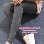 กางเกงเลกกิ้งคนท้องขายาวสีเทาเข้ม แต่งรูปตัว t ที่ปลายขา
