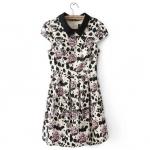 [พรีออเดอร์] ชุดเดรสผู้หญิงแฟชั่นเกาหลีใหม่ แขนสั้น พิมพ์ลายกุหลาบ - [ Preorder] New Korean Fashion Slim Printed Rose Short-sleeved Dress Pleated Skirt