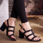 รองเท้าแฟชั่น ส้นสูง รัดส้น สวยเก๋ ดีไซน์ แถบเส้นด้านหน้าเก็บหน้าเท้าเรียว รัดส้นตะขอเกี่ยวใส่ง่าย ส้นตัด สูงประมาณ 2 นิ้ว ใส่สบาย แมทสวยได้ทุกชุด