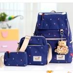 Girl's youth style backpack เซ็ต 3 ชิ้น แถมฟรีพวงกุญแจ (สีน้ำเงิน)
