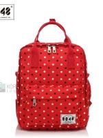 Back pack(กระเป๋าเป้ สะพายหลัง) BA043 สีแดง จุด พร้อมส่ง