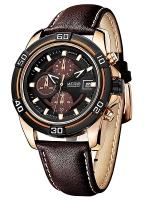 MEGIR WATCH นาฬิกาสปอร์ต สายหนัง รุ่น C01-BR-Gold