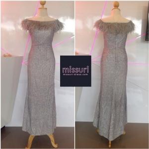 ชุดราตรียาวไปงานแต่งงาน ชุดออกงาน ชุดเพื่อนเจ้าสาว ชุดmaxi dress กลิตเตอร์ปาดไหล่ระบายขนนกทรงเข้ารูป