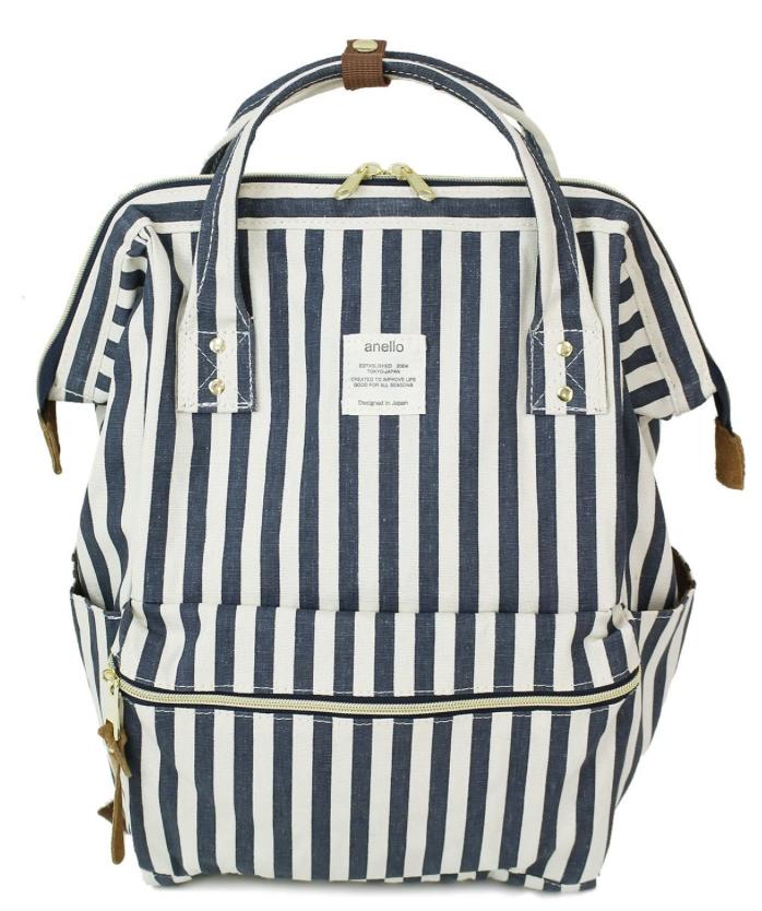 กระเป๋าเป้ Anello Stripe Navy (Standard)