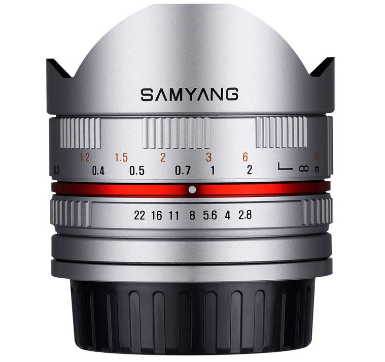 Samyang 8mm f/2.8 Asph IF MC Fisheye CS For Sony E / Fuji X - Silver