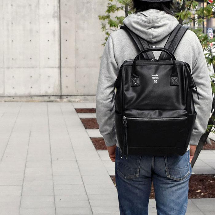 กระเป๋าเป้ Anello Premium Leather Black (Standard) หนัง PU