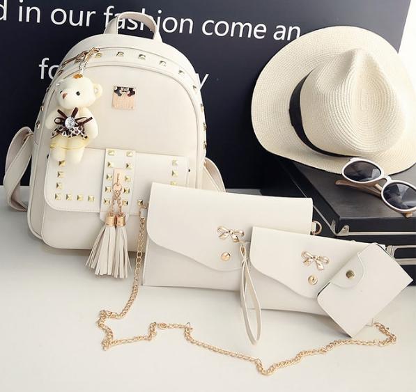 Fashion Korea PU set 4 ใบ (สีขาว)