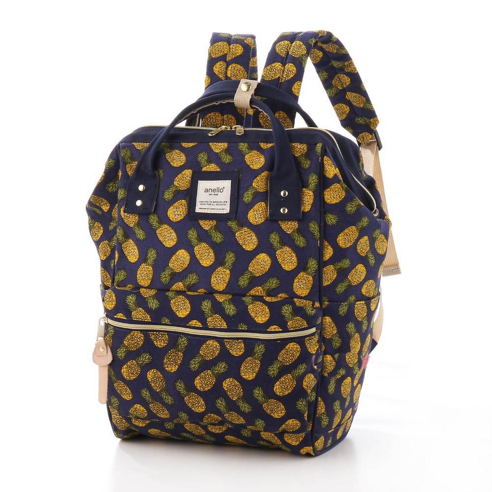 กระเป๋าเป้ Anello Canvas Limited Pineapple Deep blue (Standard) ผ้าแคนวาส ลายสัปปะรด สีน้ำเงิน