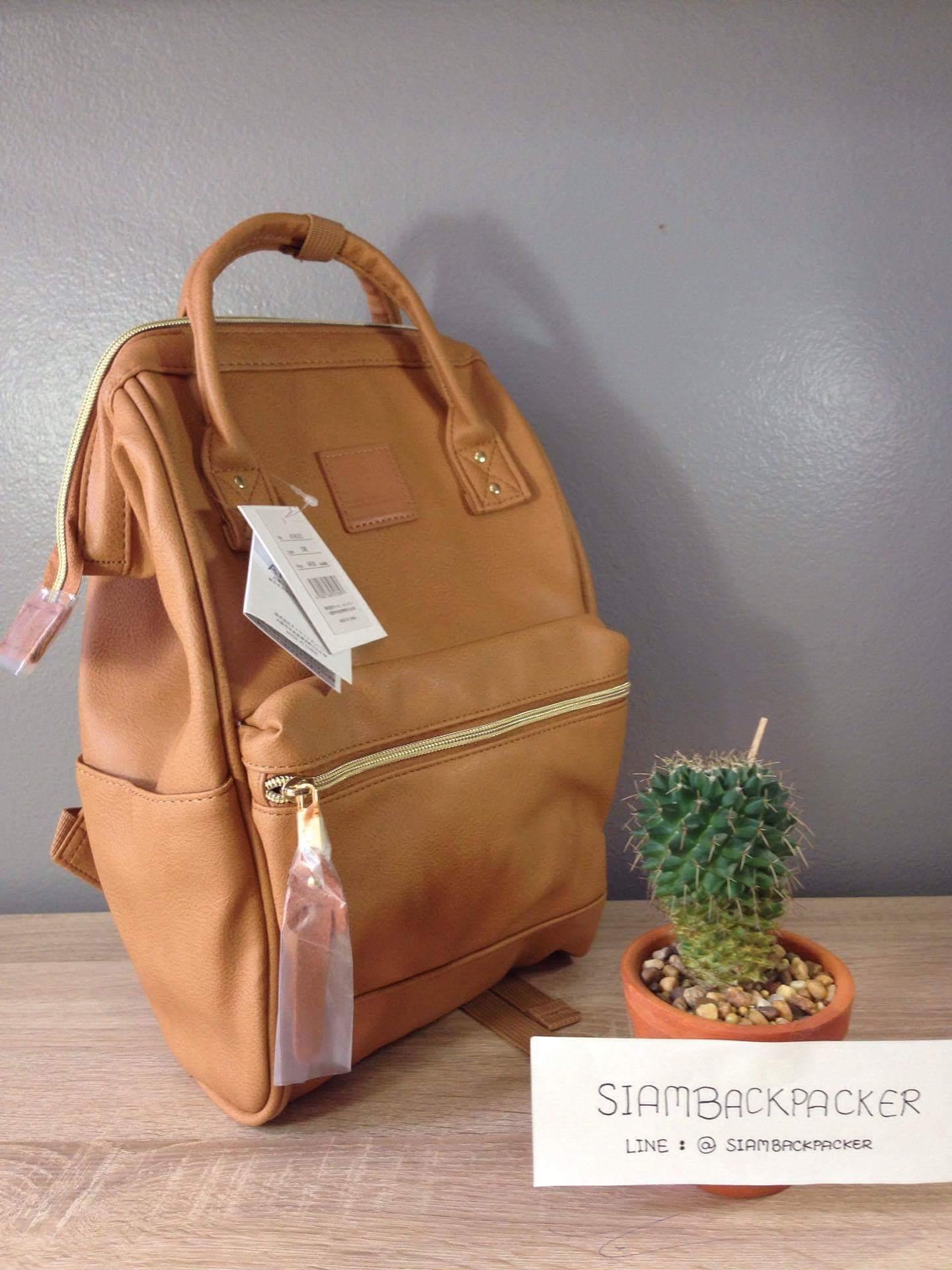 กระเป๋าเป้ Anello Leather Camel beige (Mini)
