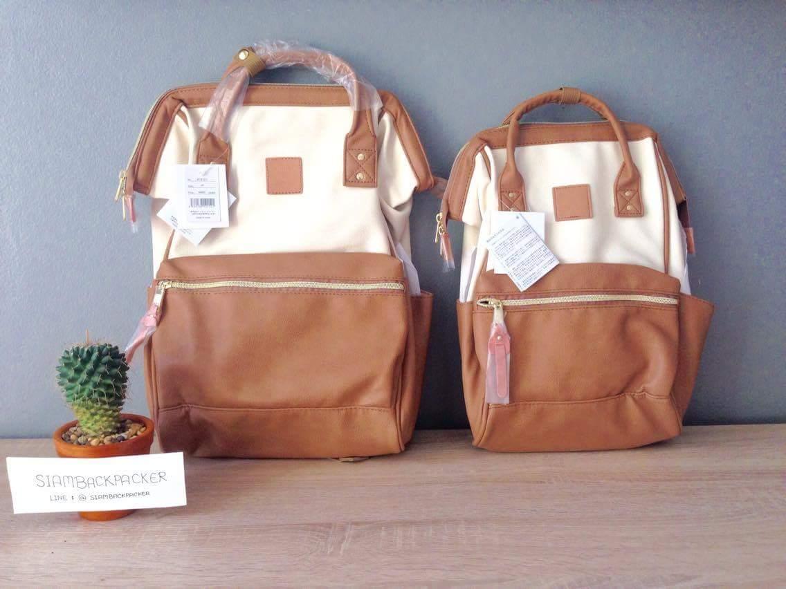 กระเป๋าเป้ Anello Leather Ivory Camel beige (Standard) หนัง PU กันน้ำ