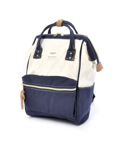 กระเป๋าเป้ Anello Cotton Navy (Standard) ผ้าคอตตอน สีทูโทน ขาวกรมท่า