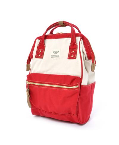 กระเป๋าเป้ Anello Cotton Red (Standard) ผ้าคอตตอน สีทูโทน ขาวแดง