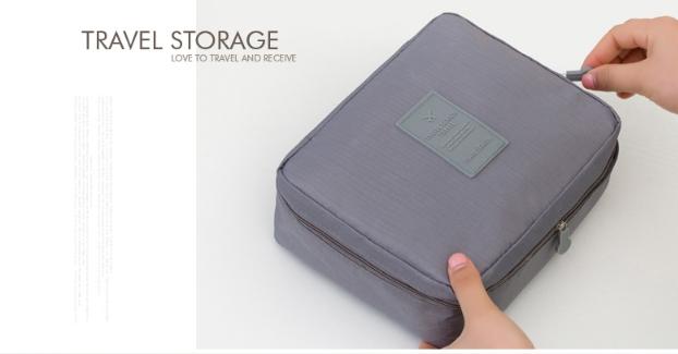 กระเป๋าเครื่องสำอาง/อุปกรณ์อาบน้ำ Travel storage สีเทา