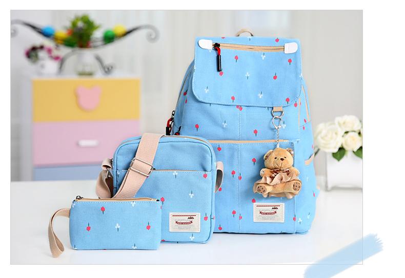 Girl's youth style backpack เซ็ต 3 ชิ้น แถมฟรีพวงกุญแจ