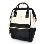 กระเป๋าเป้ Anello Cotton Black (Standard) ผ้าคอตตอน สีทูโทน ขาวดำ