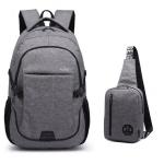 กระเป๋าเป้ Set wolfhorse เซ็ต 1 แถม 1 USB charging port พร้อมกระเป๋าคาดอก