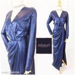 ชุดราตรียาวสีน้ำเงิน สำหรับออกงาน ไปงานแต่ง ผ้าวาเลนติโน่ ชุดกระโปรงแขนยาว