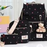 Girl's youth style backpack เซ็ต 3 ชิ้น แถมฟรีพวงกุญแจ (สีดำ)