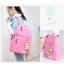 Girl's youth style backpack เซ็ต 3 ชิ้น แถมฟรีพวงกุญแจ (สีชมพู) thumbnail 3