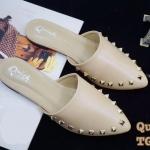 รองเท้าคัทชู เปิดส้น แต่งหมุดทองสวยหรู หนังนิ่ม ทรงสวย ใส่สบาย แมทสวยได้ทุกชุด (TG265)
