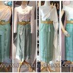 ชุดไทย ชุดไปงานแต่งงาน ชุดไทยเพื่อนเจ้าสาว ผ้าไหมดัชเชต เสื้อไหล่เดี่ยว คู่กับผ้าถุงสำเร็จ