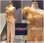 ชุดยาวสีทอง ชุดไปงานแต่งงานสีทอง ชุดmaxi dress มีผ้าออแกนดี้ ระบายที่บ่าและเอว ทรงตรงผ่าข้าง เซ็กซี่