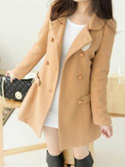 LADY CAMEL WOOLEN COAT [ เสื้อโค้ทกันหนาว ทรงหวานๆ สไตล์เกาหลี ] พร้อมส่ง