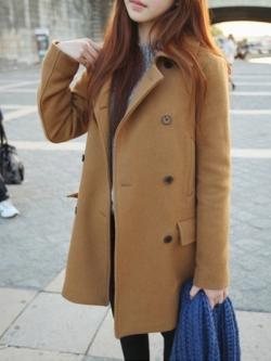 KOREA CAMEL WOOLEN COAT [ เสื้อโค้ทกันหนาว กระดุม 2 แถว สไตล์เกาหลี ] พร้อมส่ง
