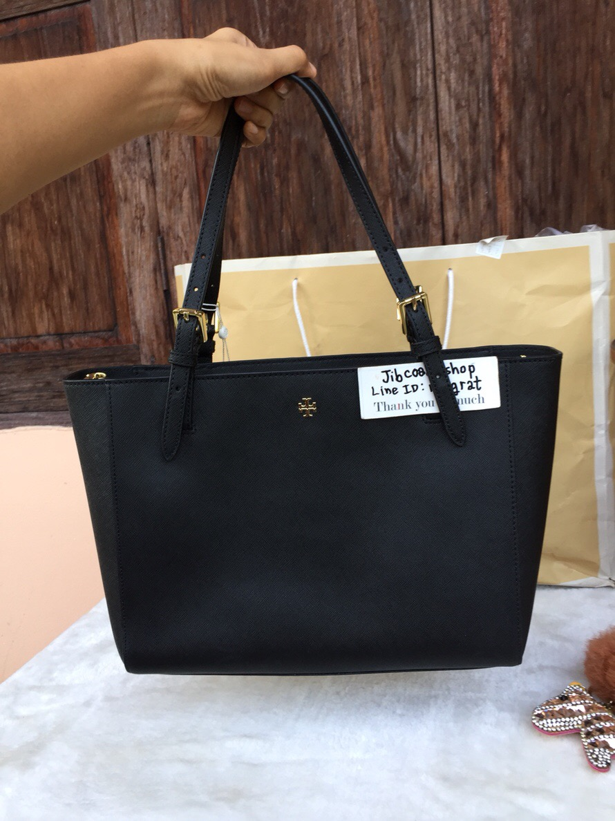 92f4ac58f273 พร้อมส่ง Tory Burch Emerson SMALL BUCKLE TOTE BLACK - jibcoachshop ...